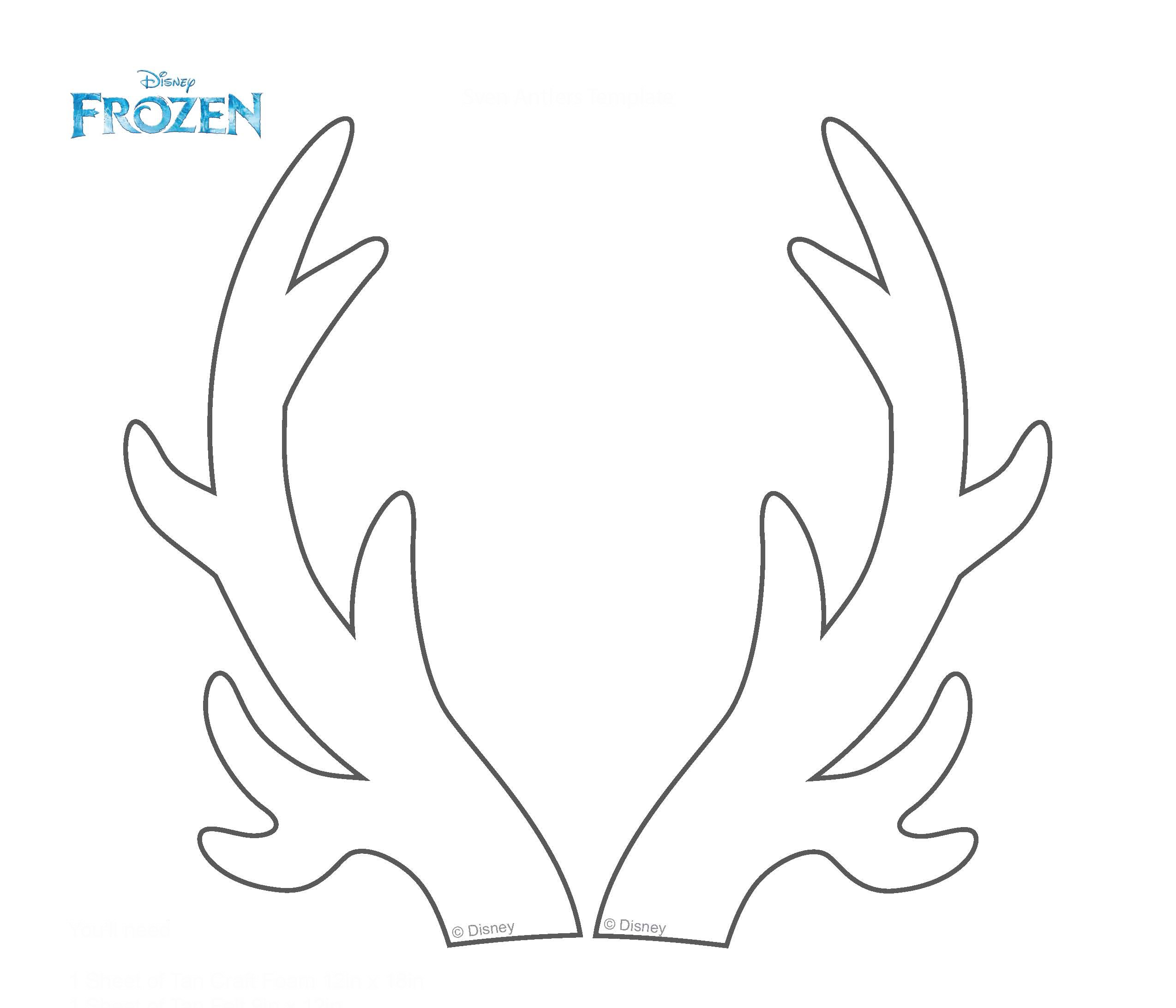Sven reindeer coloring pages for Template for reindeer antlers